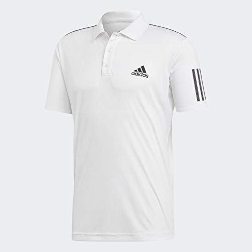 adidas Herren Club 3-Streifen Poloshirt, White/Black, XL