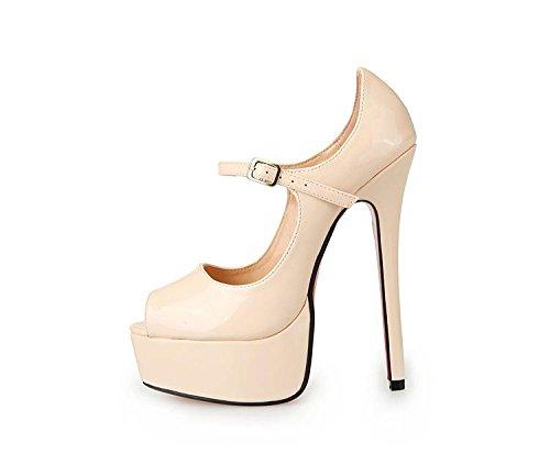 HeiSiMei Sandales pour femmes / Sexy / talon aiguille talon / Poissons bouche chaussures / épais imperméable plateforme / Soirée & Soirée / Nightclub / Boucle / Hommes / Unisexe BEIGE-EU46