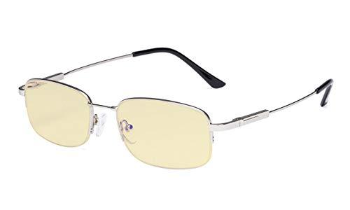 Eyekeppe Damen/Herren Computerbrille,mit Blaulichtfilter lesebrillen Halbrandform Memory Titanium in Silber +2.25