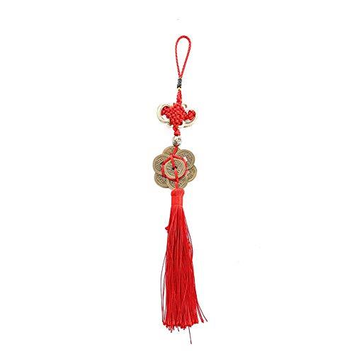 Auto-Gehänge, Retro 6 Münzen Roter Chinesischer Knoten Kupfer Feng Shui Wealth Erfolg Glücksbringer Hause Auto Kleiderbügel Dekore Auto Spiegel Hängen Zubehör -