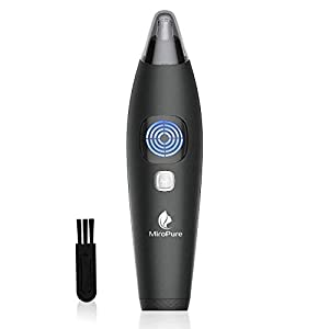 MiroPure Waterproof Nose and Ear Hair Trimmer for Men & Women, with LCD Screen Showing Battery Capacity, 1-button Lock and 5-minute Auto-Shutoff, Wet/Dry Use