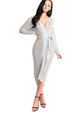 IKRUSH Women's Lorna Metallic-Strickkleid in White Size S/M (Style Wrap Strickkleid)