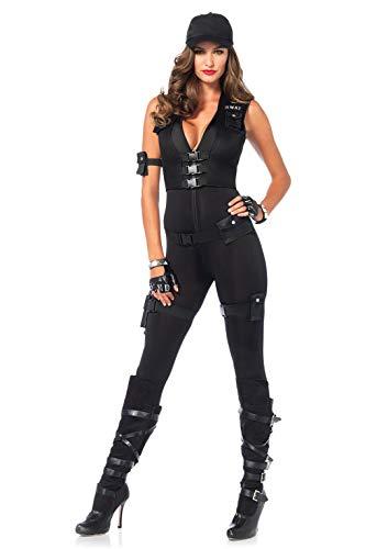 Leg Avenue 85463 - Deluxe SWAT Kommandant Kostüm, Größe Small (EUR 36), Damen Karneval - Jumpsuit Deluxe Kostüm