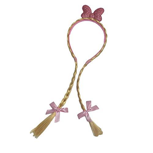 P Prettyia Haarreifen mit Zöpfen Zopf Lange Haare Perücke für Kinder - Gold