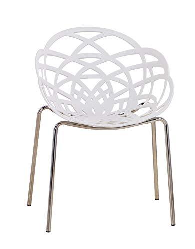 Euro Tische Esszimmerstühle modern, stilvoll & bequem - perfekt geeignet im Esszimmer, Wohnzimmer & Küche - (Weiß, 1x Stuhl)