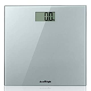 ACCUWEIGHT High Accuracy Digital Bathroom Scale, Electronic weighing scales with Wide Tempered Glass Platform, 28st/400lb/180kg Capacity, Platinum