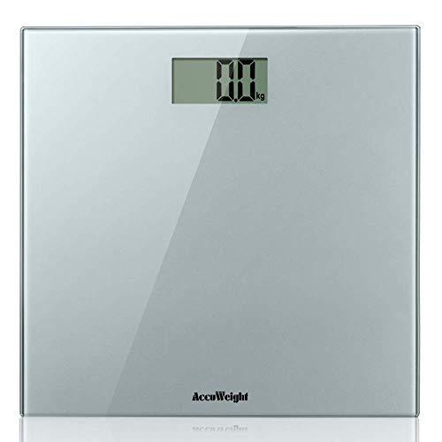ACCUWEIGHT Báscula de Baño Digital de Alta Medición Precisa 180 kg, Balanza Digital Baño, Súper fino de silver Vidrio seguridad