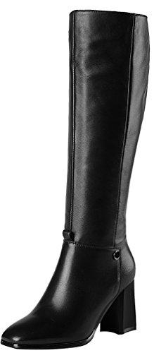 ELEHOT Donna Eledrum tacco a blocco 7.5CM Leather Stivali, nero,