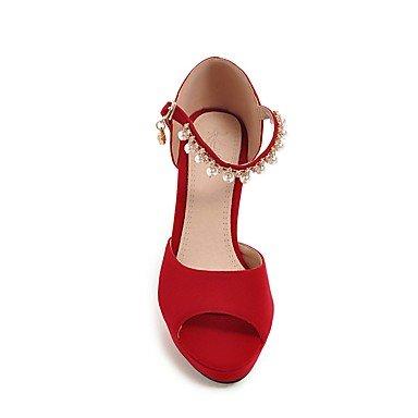 LvYuan Damen-Sandalen-Büro Kleid Party & Festivität-Vlies PU-Blockabsatz-Andere-Schwarz Blau Rosa Rot Beige Pink