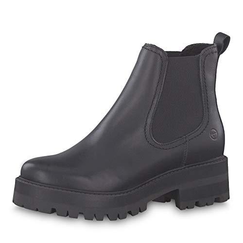 Tamaris Damen Stiefeletten 25445-23, Frauen Chelsea Boots, Stiefel halbstiefel Stiefelette Bootie Schlupfstiefel hoch,Black Leather,36 EU / 3.5 UK