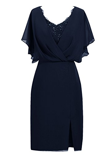 Dresstells, robe de mère de mariée longueur au genou, robe courte de demoidelle d'honneur Marine