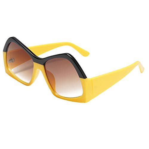 YAM DER Unisex Vintage Eye Sonnenbrillen,Retro Eyewear Fashion Strahlenschutz,Polygon Brille,UV400 - Verspiegelte Gläser,Nacht Vision Blendschutz Brille,Sportbrille,Anti-blaues Licht (Gelb)