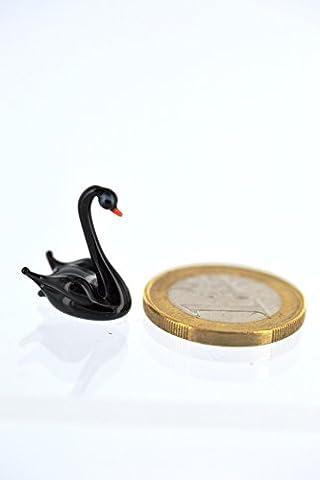 Schwan schwarz mini - Miniatur Figur aus Glas schwarzer Schwan - Glasfigur Glastier Setzkasten Deko