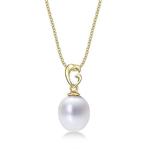 Pearl Drop Anhänger Halskette mit Single 8–8,5mm Süßwasserperle Weiß Set in luxuriöser 9K Gelb Gold