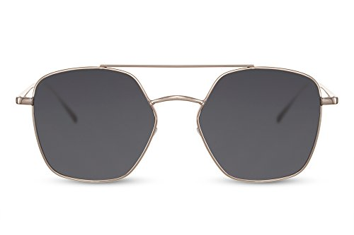 Cheapass Sonnenbrille Pilotenbrille Aviator Gold Grau Designer-Brille UV-400 Festival-Brille Metall-Rahmen Unisex