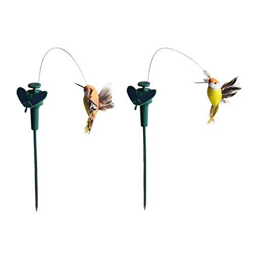 non-brand MagiDeal 2 Stück Tanzender Vogel Kolibri Solarstecker der Hingucker auf Ihrer Terrasse/Blumenbeet/Garten/Balkon/Blumenkopf -