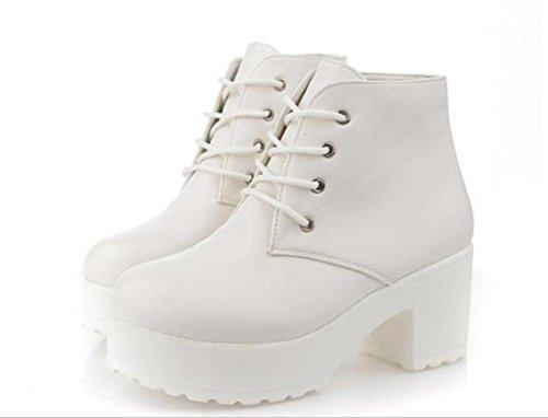 YCMDM Printemps Nouveau Chaussures Simple Artificielle PU Chaussures Femmes Talon Chaussures Etanchéité white