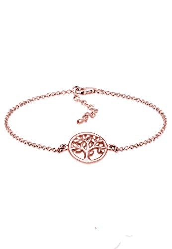 Elli Damen Echtschmuck Armband Lebensbaum Symbol Anhänger in 925 Sterling Silber Rosé vergoldet 16 cm Länge