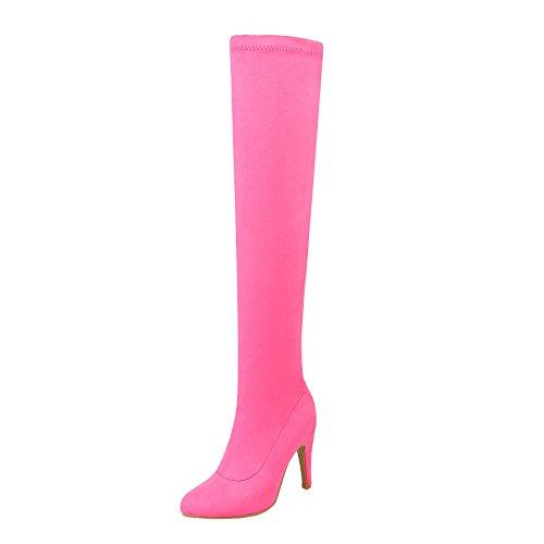 YE Damen Stretch Overknee Stiefel Stiletto High Heels 10cm Absatz Elegant Simple Schuhe