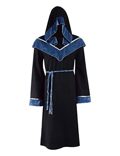 IDEALcos Halloween Schwarz Magic Langes Cape mit Kapuze Mantel Wizard Cosplay Kostüm für Herren (3XL, (Herren Kostüm Assistent)