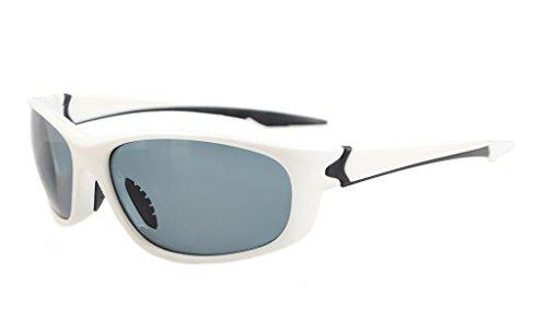 Eyekepper Polycarbonat-polarisierte Sport-Sonnenbrille für Männer Frauen Baseball Laufen Angeln Fahren Golf Softball Wandern TR90 Unbreakable Weiss Frame Grau Lens -