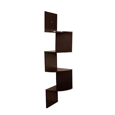 flottant étagères d'angle Lot de 5, Keepwin 5étages étagère d'angle pour fixation murale Creative Home produits de stockage, café, 25*23*25
