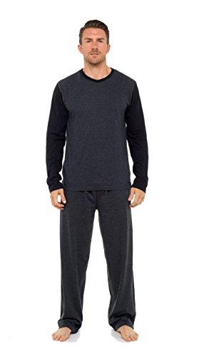 Herren Pyjama Set Langarm-top & Hosen Baumwoll Schlafanzug Dunkelgrau
