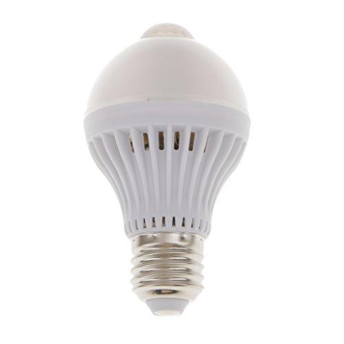 MagiDeal E27 5W LED Glühbirne Glühlampe Kugel Birne Lampe mit PIR Bewegungssensor Licht - Warmweiß -