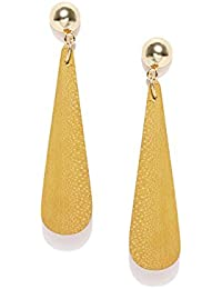 Thingalicious Natural Wood Gold Plated Earrings for Women