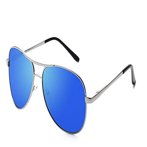 YDOMY 2019 Neue Sonnenbrillen Herrenbrillen Sonnenbrillen Flut Menschen Polarisierten Linsen Fahren Spezielle Fahrer Flut Großes Gesicht Silberrahmen Eisblauen Tabletten