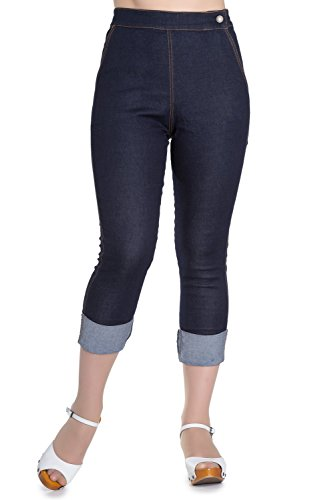 Hell Bunny Ronnie Denim Jeans 50er Vintage Retro Capri Hose 3/4 Pedal Pushers - Marineblau (3XL - DE 46) - Denim Pedal Pusher