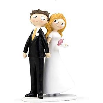 /Figurine jeunes mari/és pour d/écoration de g/âteau de mariage Partydeco pf21-karton/
