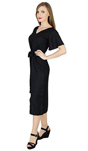 Bimba décalage asymétrique robe mi-mollet robes jour de rayonne longueur d'été Noir