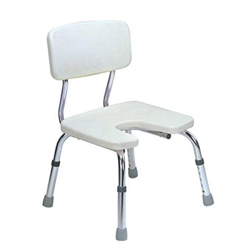 MyAou-Shower Chair Aluminiumlegierung U-Typ Bad Stuhl Höhenverstellbarer Duschstuhl Duschhocker