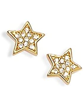 Ohrringe vergoldet Zirkonia Stern Weiß-Strass Damen-Schmuck, Kinder, Mädchen