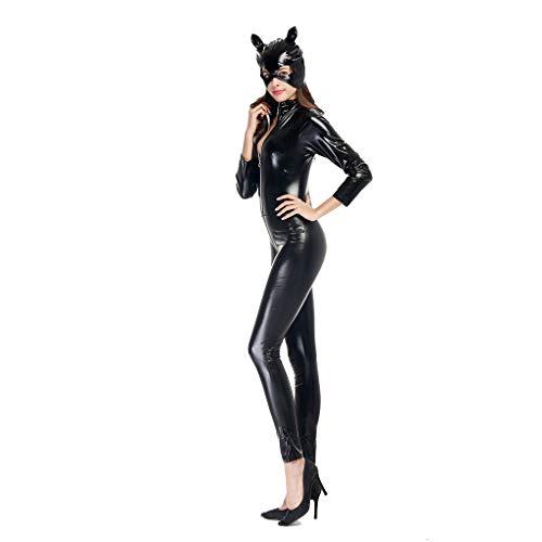 Luckiests Frauen PU-Leder-Catsuit Cosplay Halloween Katzenmaske Jumpsuit Sexy Body
