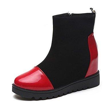 RTRY Scarpe donna pu cadere la moda Stivali Stivali tacco piatto rotondo Zipper Toe per Casual rosso bianco US8.5 / EU39 / UK6.5 / CN40