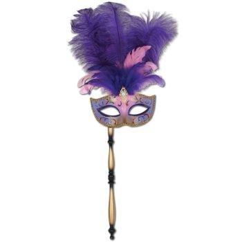 Beistle 54203 Gefiederte Maske mit Stick (Mit Stick Maske)