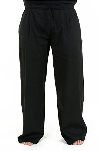 - Pantalon droit unisexe jambe large noir uni be basic - Noir