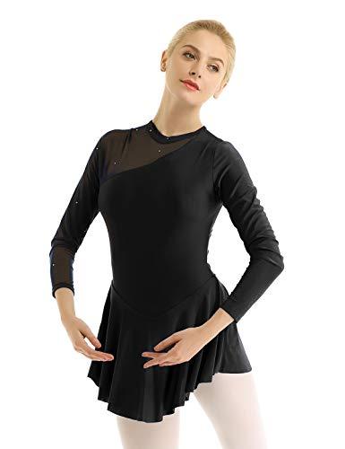 TiaoBug Damen Neckholder Kleider Langarm Ballettkleid Tanzkleider Eiskunstlauf Kleid Ballett Tanz Gymnastik Body Bekleidung gr. 32-40 Schwarz 38