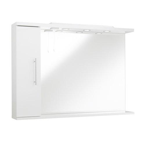 Kartell Impakt Spiegel mit Seitenschrank & Lichter Rechte Hand Wand montiert Weiß, holz, weiß, 750mm x 750mm White