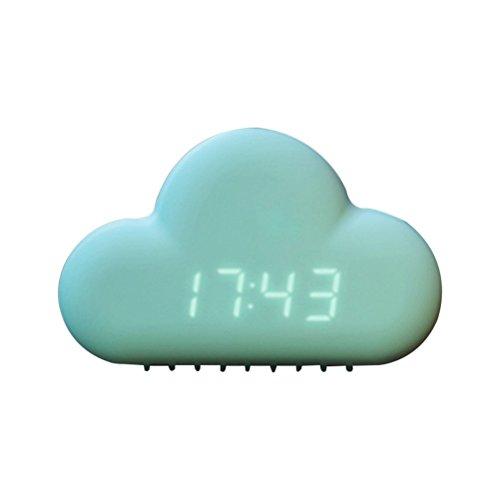 Vosarea Reloj Despertador de Nubes Reloj de Pantalla LED Despertador Inteligente Ultra silencioso Reloj Creativo Decoración del hogar (Verde Menta)