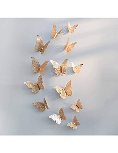 XHKPF 12 Teile/Satz Rose Gold 3D Hohlwandaufkleber Für Wohnkultur Schmetterlinge Aufkleber Raumdekoration Champagne Gold B -