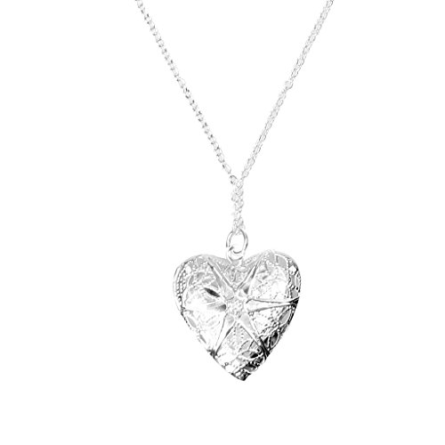 Imported Valentines Heart Shaped Locket Photo Pendant Necklace Chain Silver P...-13013873MG