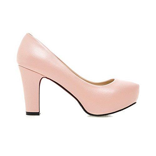 AgooLar Damen Rein PU Hoher Absatz Ziehen auf Rund Zehe Pumps Schuhe, Pink, 44