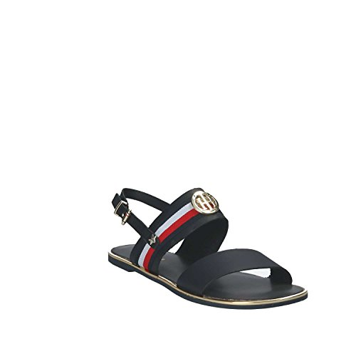 Tommy Hilfiger Corporate Ribbon Flat, Sandales Bride Arrière Femme Bleu (Midnight 403)