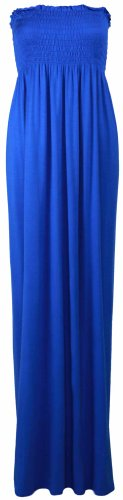 Damen Neues Bustier Bandeau Jersey Sommerkleid Trägerlos Maxi Kleid Elastisch Königsblau