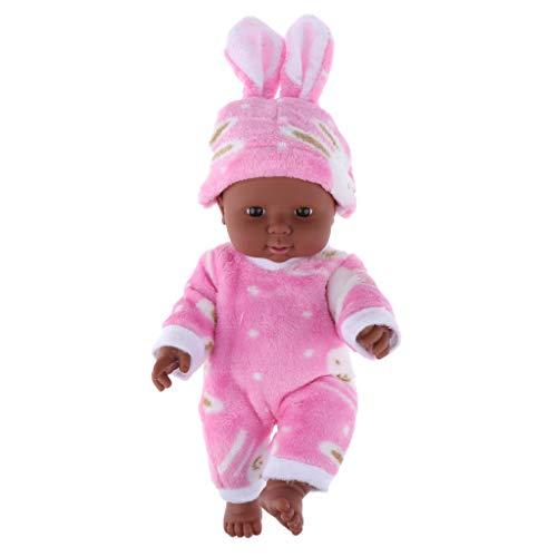P Prettyia 30cm Dunkelhäutige Weichkörperpuppe Weichkörper Babypuppe in Kleidung Puppen