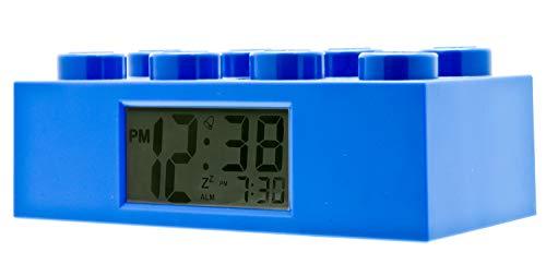 Blauer LEGO 9002151 Stein-Wecker für Kinder mit Hintergrundbeleuchtung , blau , Kunststoff , 7 cm hoch , LCD-Display , Junge/ Mädchen , offiziell (Kinder-wecker Uhr Digital)