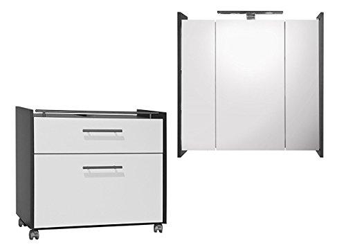 Galdem Badmöbel-Set mit Waschbeckenunterschrank Spiegelschrank mit LED Beleuchtung Badezimmer Bad-Set Anthrazit Weiss Hochglanz (Ohne Steckdose)